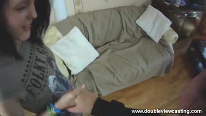 От первого лица трахает русскую девку с татухой на спине